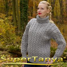 Made to order hand knitted wool sweater in gray by supertanya
