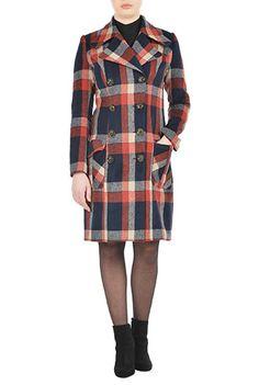 #Brushed twill #plaid double breasted #coat from eShakti