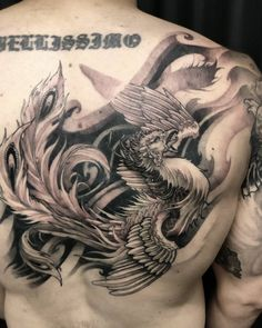 The koi fish is one of the most recognizable Asian tattoos. Discover the legend behind them & what different designs & colours mean for your own koi tattoo. Small Phoenix Tattoos, Phoenix Tattoo Design, Tattoo Phoenix, Side Piece Tattoos, Arm Tattoos For Guys, Traditional Chest Tattoo, Phenix Tattoo, Koi Dragon Tattoo, Money Tattoo