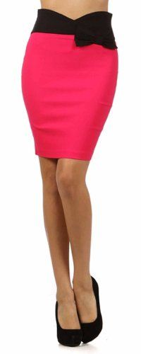 Sakkas Scallop High Waist Stretch Pencil Skirt with Bow $21.99 #bestseller