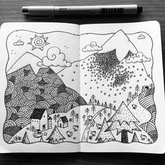 Dave Garbot — Morning in the Valley…Dreaming of Spring. Mountain Sketch, Mountain Drawing, Mountain Art, Doodle Drawings, Doodle Art, Mini Doodle, Hand Drawn Cards, Sketch Notes, Art N Craft