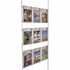 Holders for displaying advertising posters, property details or information in windows - visible on both sides. Ideal for estate agents, lettings agents, property shops etc.