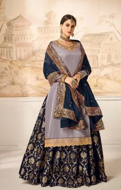 Online Shopping of Fancy Lavender Color Festive Style Embroidered Satin Silk Sharara Top Lehenga from SareesBazaar, leading online ethnic clothing store offering latest collection of sarees, salwar suits, lehengas & kurtis Wedding Lehenga Online, Lehenga Choli Online, Embroidered Clothes, Embroidered Silk, Blue Satin, Silk Satin, Festival Wear, Festival Fashion, Grey Fashion