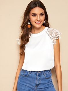 Shein Contrast Lace Cuff Keyhole Back Blouse Dressy Tops, Lace Cuffs, Vacation Dresses, Blouse Online, Plus Size Blouses, Lace Sleeves, Lace Tops, Pulls, Types Of Sleeves
