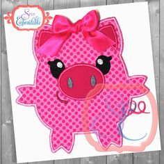 INSTANT DOWNLOAD Squeaky the Pig Applique Design For Machine Embroidery by SewEmbroidable on Etsy