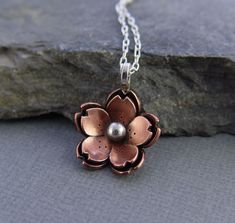 Double Cherry Blossom Pendant, Sakura Flower, Metalsmithing, Copper Jewelry. $44.00, via Etsy.