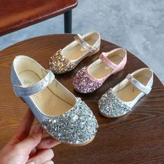 Gold / Silver / Pink Leather Sequins Flower Girl Shoes Kids Baby Girl Princess Shoes #Gold #Pink #Sequin