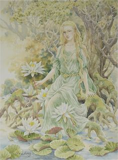 In his letters, Tolkien describes Goldberry as the seasonal changes in nature, and Bombadil as the nature spirit of the English countryside. based on Eurasian myth and cosmology-The Great Goddess who is mother of all things was, before Time existed, the element of water, undifferentiated. The River is the local manifestation of the primal Great Goddess, and Goldberry is her daughter, the spirit of all local waters existing in Time, alive and embodied.