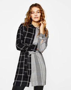 Contrasting shirt dress. Discover this and many more items in Bershka with new products every week