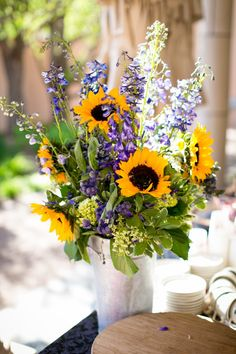 yellow and blue wedding flowers sunflower colorado
