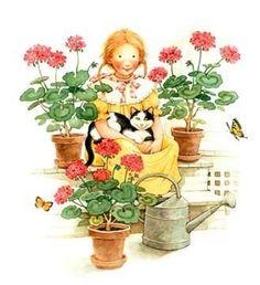 Holly Hobbie, w/ cat and geraniums Sarah Kay, Holly Hobbie, Red Geraniums, Cute Illustration, Cat Art, Paper Dolls, Bunt, Cute Kids, Illustrators