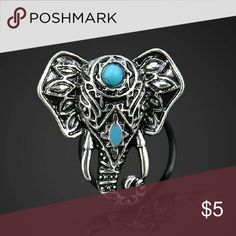 🐘Bohemian style elephant ring💍 This ring is brand new with beautiful turquoise colored Embellishments. 💎 antique style silver tone.  Hello dear! 💋 Take a look at what I have for sale and don't be afraid to make an offer 😊 Bundle your items for a 10% discount 😮 New items arrive daily so be sure to check back soon 👀Make sure to look out for my buy 2 get one free deals💸   👛💄Happy shopping 👠👗 Jewelry Rings