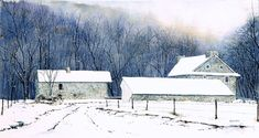 snow watercolor paintings | CHADDS FORD SNOW, snowscape watercolor by Thomas A Needham
