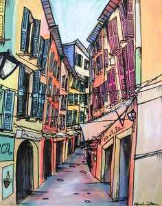 Vieille Ville- Original acrylic and pastel painting of Nice