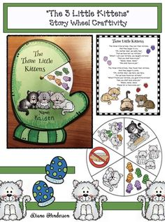 """Nursery Rhymes: Cute """"rhyme time"""" poetry wheel to help practice the """"sequence"""" & """"retell"""" a story standards. This one features """"The 3 Little Kittens"""" nursery rhyme. Includes an anchor chart poster of the nursery rhyme."""