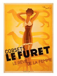 Le Furet Corsets Poster Impressão giclée