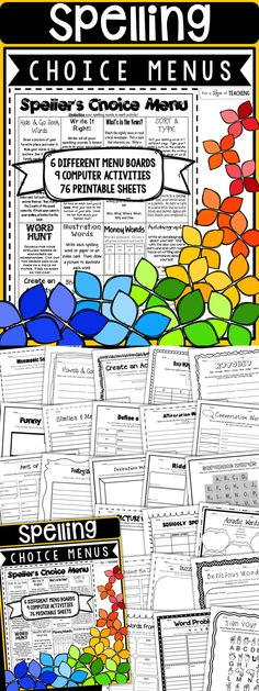 Spelling Activities: Speller's Choice Menus & Spelling Activity Pages to Last the Entire Year! For 2nd grade, 3rd Grade, 4th Grade, 5th Grade, and 6th Grade.