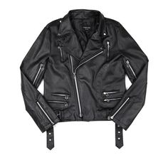 Korean women leather zip detail Jacket