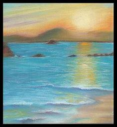 Pastel painting of the beach in Acapulco by CeciliasDesignStudio, $32.00