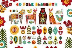 Folk Embroidery Patterns Nordic Animals - folk kit By Juliya Kochkanyan - Folk Art Flowers, Flower Art, Folk Embroidery, Embroidery Patterns, Art Scandinave, Scandinavian Folk Art, Nordic Art, Nordic Style, Embroidery Techniques