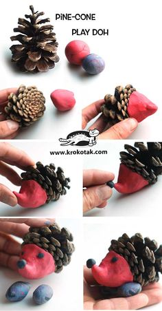 Christmas decorations tinker with pine cones - wonderful DIY ba .- Weihnachtsdeko basteln mit Tannenzapfen – Wundervolle DIY Bastelideen Christmas decorations tinker with pine cones – DIY craft ideas – tinker hedgehog tinker - Kids Crafts, Diy Home Crafts, Leaf Crafts, Adult Crafts, Pine Cone Crafts For Kids, Autumn Crafts, Nature Crafts, Summer Crafts, Autumn Activities
