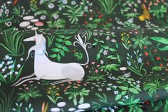 Tapestry in Green - Forest Meadow Colorway - Lovely Hunt by Lizzy House for Andover Fabric