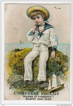 French trade card Chromo Chocolat Poulain capitaine marin matelot costume maquette bateau voile | by oldsailro