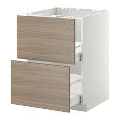 METOD/MAXIMERA Base cab f sink+2 fronts/2 drawers - white, Brokhult walnut effect light grey, 60x60 cm  - IKEA