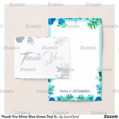 Thank You Silver Blue Green Teal Grey Floral Boho Foil Card Teal And Grey, Blue Green, Foil Card, Silver Paper, Colored Paper, Envelopes, Thank You Cards, Create Your Own, Stationery