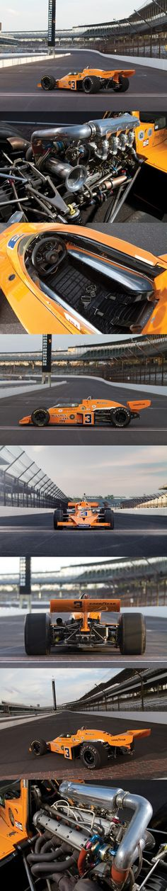 1974 McLaren M16C Indy Race Car. The 1974 McLaren M16C Indy Car was an Offenhauser-powered open-wheeled racer that won the 1974 Indy 500 – the car and its driver, Johnny Rutherford, would lead for 59 of the last 60 laps before taking their historic win at the Brickyard.