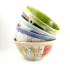 Ceramic Bowl Set of 4  ready to ship today  by BlueSkyPotteryCO, $110.00