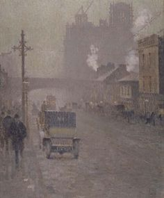 Saw this beauty at the Manchester Art Gallery yesterday. A French Impressionist in Manchester: Adolphe Valette, 'Oxford Road, Manchester', 1910, oil on jute.