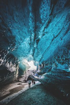 Ice Caves in Vatnajökull, Iceland | Seen a lot of other shots similar but I like how this one shows the size and scale of the cave.