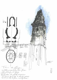 Clérigos Tower, Porto #sketch #sketching #urbansketchers #theheadlessketcher #drawing #sketchbook #architecture #Portugal #uskp #pendrawing #watercolor #Porto #archisketcher