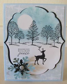 stampinup card with christmas tree stamp   Christmas-Holiday-Peace-Snow-Trees-Deer-Handmade-Card-Kit-Some-Stampin ...