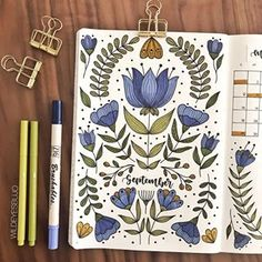 I'm excited to share this months theme with you guys! I've been a fan of fol… I'm excited to share this months theme with you guys! I've been a fan of folk art patterns for as long as I can remember, and am so happy… Doodle Bullet Journal, Bullet Journal 2020, Bullet Journal Aesthetic, Bullet Journal Notebook, Bullet Journal Ideas Pages, Bullet Journal Spread, Bullet Journal Inspo, Bullet Journal Layout, Life Journal