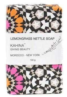 Kahina Giving Beauty Lemongrass Nettle Soap, $18; kahina-givingbeauty.com