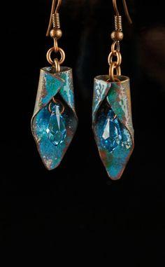 Enameled copper earrings Copper and crystal earrings by driftnbleu
