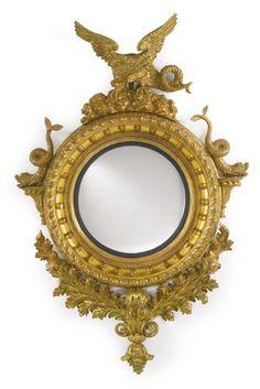 A Regency giltwood convex mirror, circa Sotheby's Convex Mirror, Wood Mirror, Mirror Mirror, Decoration, Art Decor, Antique Frames, Antique Mirrors, Spiegel Design, Light Background Images