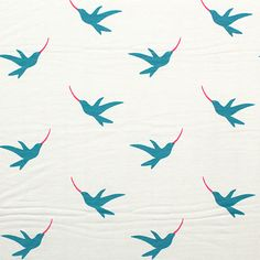 Hummingbirds on Ivory Cotton Spandex Knit Fabric - A Girl Charlee Exclusive!  A top quality 12 oz ivory cotton spandex with repeating rows of sweet blue and pink flying hummingbirds.  Knit fabric is true medium weight, with a great stretch and snap recovery.  Has a 4 way stretch.  Birds measure 2 1/2