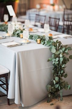 Justin DeMutiis Photography; cool grey and green wedding reception