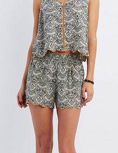Scalloped Floral Print Shorts