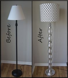 DIY lamp by helen - maybe use glass floats and repaint the lamp post white - yes! Maybe wrap a white shade with fishing net - hmmmm