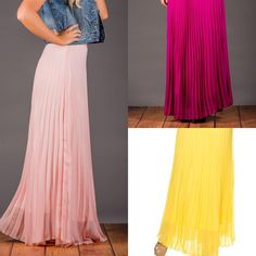 Fully lined pleated maxi skirts!! Perfect for wedding season!! 6 colors to choose from! Only $27.99