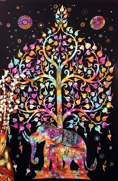 Elephant Tree Tapestry ,Good Luck White Elephant Tapestry , Hippie Gypsy Wall Hanging , Tree of Life Tapestry , New Age Dorm Tapestry (Multi/Black)
