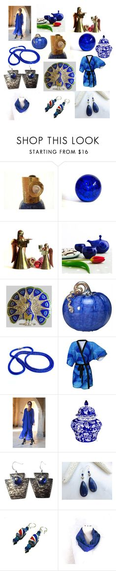 """""""Gold and Cobalt Blue"""" by anna-recycle ❤ liked on Polyvore featuring Cohn-Stone Studios, Lazuli, modern, rustic and vintage"""