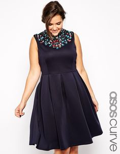 Enlarge ASOS CURVE Scuba Midi Dress with Jewelled Neck in Longer Length