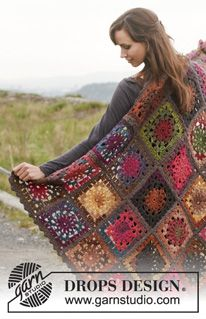 "Crochet DROPS blanket in ""Big Delight"" with edges in ""Big Merino"". ~ DROPS Design"