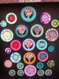 Dorset buttons............worked on various size curtain rings with any spare threads....very addictive !