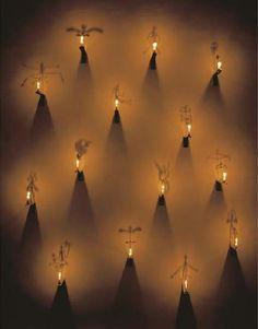 Les bougies, 1988, BOLTANSKI Christian, Installation, Dimensions : 300 x 28 x 32 cm, Installation (Cuivre, équerres en acier, bougies)